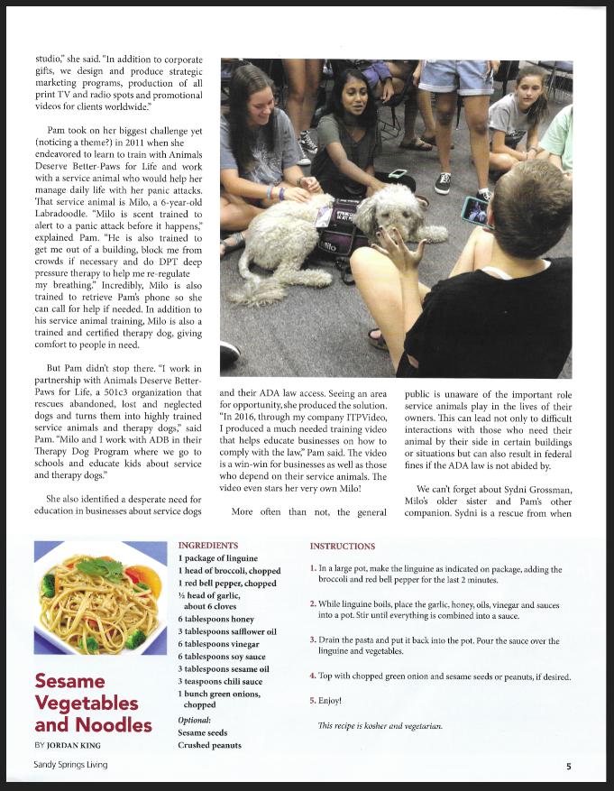 Sandy Springs Living Article Featuring Pamela Grossman